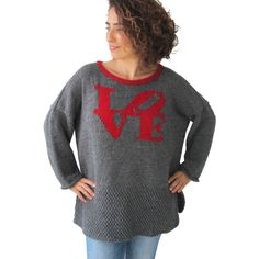 Valentines Day Hand Knitted Sweater Love Swaeater ($120) ❤ liked on Polyvore featuring tops, sweaters, black, sweater vests, women's clothing, handknit sweaters, valentines day tops, valentines day sweater, vest sweater and hand knitted sweaters