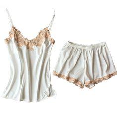 Buy Sexy Summer Pajamas Sleepwear for Women Sleeveless Spaghetti Strap  Nightwear Embroidery Satin Cami Top and Shorts Pajama Sets 3f15c00dd