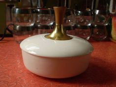 Vintage mid century modern white bowl with lid and by Spiffytyrant