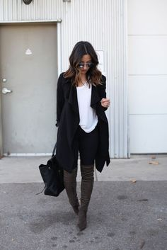 Street style | Black wrap coat with over the knee boots