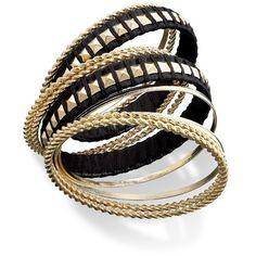 Bar III Bracelet Set, Gold-Tone Black Studded Bangle Bracelets ($32) ❤ liked on Polyvore