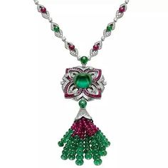 repost via @instarepost20 from @thejewelcollective From Bulgari's latest collection 'Mvsa' which was inspired by Greece's ancient muses, this awesome necklace featuring an extreme cabochon emerald surrounded by diamonds and rubies, is so naturally beautiful in its proportions as well as it's colour combination with the surrounding stones... it's making us swoon!! (Photo: preziomagazine.com) #thejewelcollective #tjc #bulgari #mvsa #necklace #emeralds #rubies #diamonds #amazing…