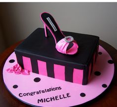 Jasmine would LOVE LOVE this....Manolo shoe and shoe box cake by cakespace - Beth (Chantilly Cake Designs)