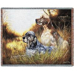 English Setter Dogs Art Tapestry Throw