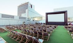 Katusekino, Tallinn, Estonia. Open air cinema.