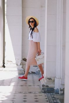 Cold white off shoulder top, straw hat, blush pink midi skirt, sunglasses, pink sneakers shoes, white crossbody bag, cute summer outfit, Andreea…