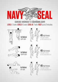 Everyone knows that Navy Seals are lean and mean. How they get that way has been a bit of a secret, until now. Well, maybe not a secret but certainly knowing what you have to do in order to get to Navy Seal level of fitness is exactly what this. Fitness Workouts, Yoga Fitness, Fitness Workout For Women, Fun Workouts, At Home Workouts, Navy Seal Training, Navy Seals, Psycho Tricks, Navy Seal Workout
