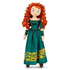 Disney Merida Soft Toy Doll | Disney StoreMerida Soft Toy Doll - Now little ones can bring along Merida on all their adventures! Our soft toy doll of the Princess from Brave wears a satin and velour dress finished with a Celtic glitter pattern and mesh trims.