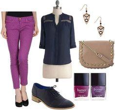 Purple pants, navy shirt, navy shoes, purple nail polish, gold earrings