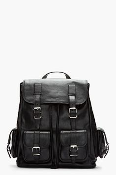 Saint Laurent Black Leather Cargo Rock Backpack for men | SSENSE