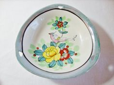 porcelain lusterware candy dish with bird Japan 1930s
