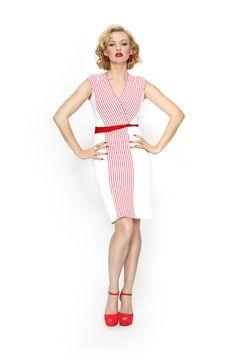 Barbora fashion designer / Červenobílé šaty NAVY