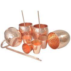 Amazon.com   DakshCraft ® Copper Hammered Cocktail Mugs (Capacity 16.90 oz per mug), WITH FREE Shot Plain Glasses (Capacity 2 oz pr mug) & Copper Straw, Set of 4: Glassware & Drinkware