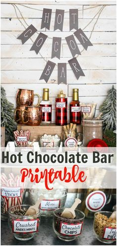 What an awesome hot chocolate bar! I love the printables that she offers too! Cute idea for a winter baby shower! Plus you can get your hands on these printables too! Andes Mint Chocolate, Hot Chocolate Party, Cocoa Party, Chocolate Bars, Christmas Chocolate, Christmas Treats, Holiday Fun, Christmas Holidays, Xmas