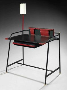 Jacques Adnet; Leatherette over Metal, Enameled Metal, Brass and Leather Writing Desk, 1950s.