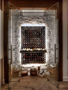 Glass Enclosed Wine Cellars glass enclosed wine cave with stone wall Glass Wine Cellar, Wine Cellar Racks, Home Wine Cellars, Wine Cellar Design, Wine Design, Wine Glass, Wine Cellar Modern, Cave A Vin Design, Wine Cellar Basement