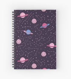 Redbubble Constellations and Planets Pattern Spiral Notebook by Anastasia Shemetova Deutsch Entsche. Cute Notebooks For School, Cute Spiral Notebooks, Japanese School Supplies, Cool School Supplies, School Stationery, Cute Stationery, Stationary, Notebook Cover Design, Notebook Covers