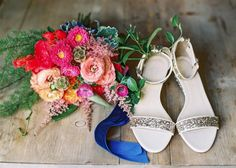 Brilliantly Colored DIY Floral Project for a Gorgeous Pennsylvania Wedding from Lauren Fair photography - wedding shoes
