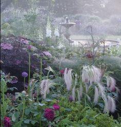 Garden Beautiful: Plum Garden at Narborough Hall, Norfolk, designed by Joanne Merrison. Famous Gardens, Amazing Gardens, Beautiful Gardens, Beautiful Flowers, Landscape Design, Garden Design, Landscape Elements, Plum Garden, Lavender Garden