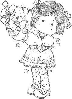 You Are So Special 2011 - Tilda with Puppy Presen Drawing For Kids, Line Drawing, Magnolia Colors, Doll Quilt, Marker Art, Coloring Book Pages, Copics, Digital Stamps, Colorful Pictures