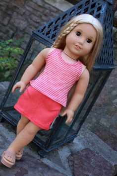 Trendy 18 Inch Doll Clothes Handmade for American Girl Doll Denim Mini Skirt and Tank Top