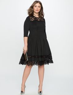 Lace Detail Fit and Flare Dress | Women's Plus Size Dresses | ELOQUII