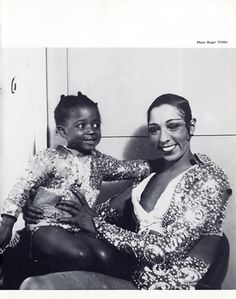 Josephine Baker 1975 [Note matching outfits with one of her babies]  Photo Roger Viollet