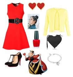 """""""Queen of Hearts"""" by avereejones on Polyvore featuring Victoria Beckham, Damsel in a Dress, Karen Millen, West Coast Jewelry, Christian Louboutin, OPI, pinkage and Christopher Kane"""