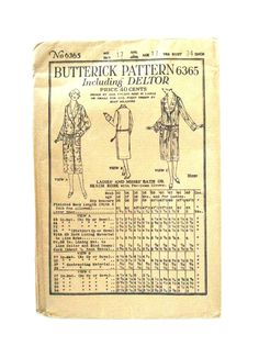 Vintage 1923 Butterick Womans Pattern 6365 SEALED Bath Beach Robe 1920s | eBay