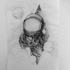 Astronaut! 17cm R$400 mas quem tatuar ate dia 20 de dezembro vai ter um desconto especial de 15%  partiu aproveitar esse descontão ai! #astronauttattoo #spacetattoo #planetstattoo #blackworktattoo #iblackwork #brokenink #brokentattoo #brokeninktattoo