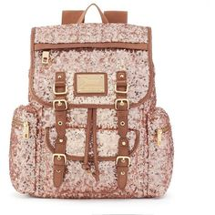 Juicy Couture Sequined Backpack, Beige/Khaki ($59) ❤ liked on Polyvore featuring bags, backpacks, snap bags, sequin bag, juicy couture backpack, beige bag and drawstring backpack