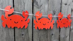 Crab Banner Crab Garland Under the Sea Party Decorations Crab Party, Seafood Boil Party, Seafood Broil, Ocean Party Decorations, Party Girlande, Crab Decor, Under The Sea Party, Mermaid Birthday, Birthday Party Themes