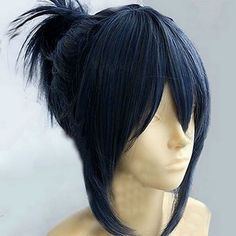 Nezumi Anime corto azul oscuro Cosplay peluca de pelo
