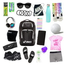 What's in my volleyball bag by yasmeenf on Polyvore featuring polyvore, fashion, style, NIKE, Asics, Urban Expressions, Yves Saint Laurent, Casetify, S'well, Abercrombie & Fitch and Wet Seal