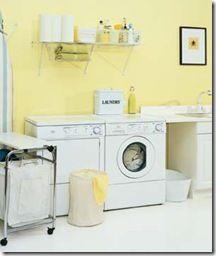 A yellow laundry room might make doing laundry seem like a happy chore! :)