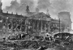 Soviet troops walking to the Reichstag building, Berlin, 1945