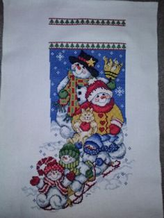 Counted Cross Stitch Christmas stocking.