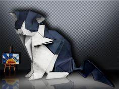 Origami Cat by Katsuta Kyohei   Designer: Katsuta Kyohei   Folder and Photo: Origa MiKids  How to fold: http://origami-blog.origami-kids.com/origami-cat-by-katsuta-kyohei.htm