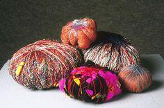 Title: Six Soft Stones  Medium: silk, wool, linen, monofilament, mohair, nylon, cotton, garments-wrapped  Date: 1997 #weaving #fiber #fibre