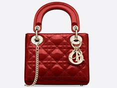 "Mini Lady Dior bag with chain in red ""Cannage"" lambskin - Dior Christian Dior Bags, Lady Dior, Monogram Canvas, Mini Bag, Clutch Bag, Shoulder Bag, Elegant, Sheer Dress, Bella Hadid"