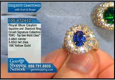 A stunning blue sapphire in a puff style diamond ring. This ring has 3 carats of diamonds and the yellow gold sets the entire piece off handsomely.