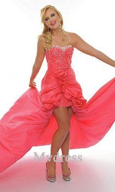 b1a7d44dc059 Watermelon Ball Gown Strapless Natural Asymmetrical Sleeveless  Flower(s),Sequins Taffeta Sweep/Brush Train Lace-up Prom Dresses Dress