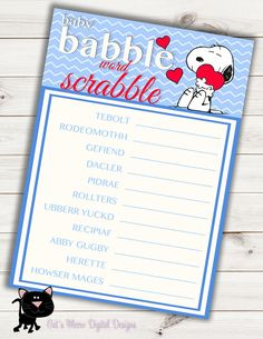 Snoopy peanuts baby shower invitation digital printable baby boy snoopy baby shower game word scrabbleprintableinstant download filmwisefo Choice Image
