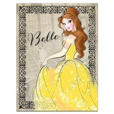 Belle Vintage Fashionista found on Polyvore featuring home, home decor, wall art, vintage wall art, princess wall art, disney princess wall art, canvas wall art and disney home decor