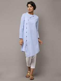 Light Blue Cotton Collared Kurta by the Wooden Closet Kurta Designs, Blouse Designs, Hijab Fashion, Fashion Dresses, Kurta Patterns, Kurti Styles, Indian Fashion, Womens Fashion, Indian Designer Wear