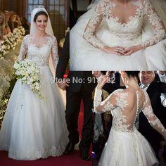 Long Sleeve Wedding Dress Modest Fashionable Vestidos De Novia A Line Lace Bride Dresses Mariage Wedding