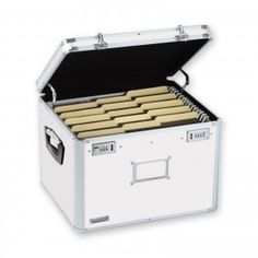 This sturdy, locking file chest has built-in metal rails to accommodate either legal or letter-size hanging file folders, providing a safe and attractive place to store files. HIPAA compliant.  Features: *Double combination locks keep documents and valuables secure *Chrome label holder on the front for identification *Rubber feet prevent skidding and surface scuffing *Handles on the sides make carrying easy, and the large flat top is great for stacking *Excellent for general storage as well