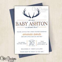 Charming Deer Baby Shower Invitation   5x7   Antlers   Oh Deer   Wood   Navy Blue