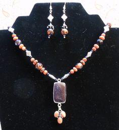 Chloe's Creations Item 293- Goldstone & Blue Goldstone Jewelry Set. by JewelryMadeByChloe on Etsy