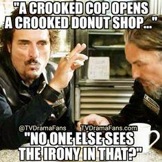 Tig jokes with Chibs at a donut shop... #SonsOfAnarchy